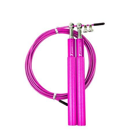 Skakanka metalowa bokserska łożyskowa crossfit 3m  różowa
